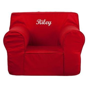 Personalized Oversized Solid Red Kids Chair