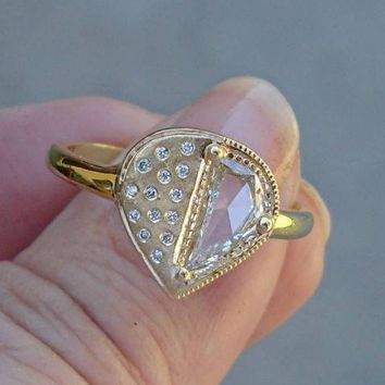 Luxinelle Unique Half Carat Raw Diamond Slice Ring - 18K Matte Yellow Gold Handmade One of a Kind by Luxinelle® Jewelry
