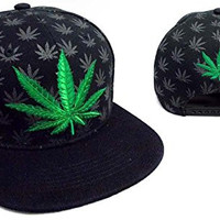 Marijuana - Weed Embroidered Flat Brim Snap back Baseball Cap Hat (AG75050W6)