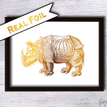Real foil print Rhino print Rhino real foil poster Rhino art decor  Animal print Home decoration Kids room decor Nursery room wall art G26