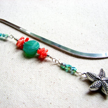 Beaded Starfish Bookmark -  Turquoise and Coral Beach Bookmark,  Star Fish Accessory, Nautical Gift
