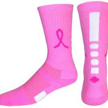 Breast Cancer Awareness Pink Ribbon Socks