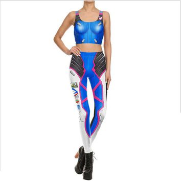 Ensnovo Women D.VA Game Cosplay Sexy Polyester Costum Tops and Pants 3d Print Leggings Halloween Costumes for Woman