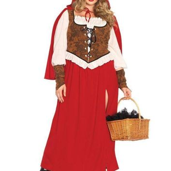 CREYI7E 3PC.Woodland Red  Riding Hoodhigh slit dress,wrist cuffs,hooded cape in RED