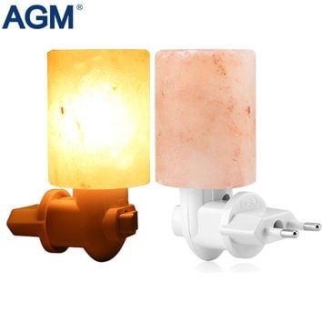 Rotatable Cylinder EU US UK Plug Himalayan Salt Lamp Air Purifier Crystal Salt Rock Bedside Night Light For Bedroom Corridor