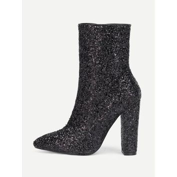 CREYM83 Sequin Overlay Pointed Toe Ankle Boots