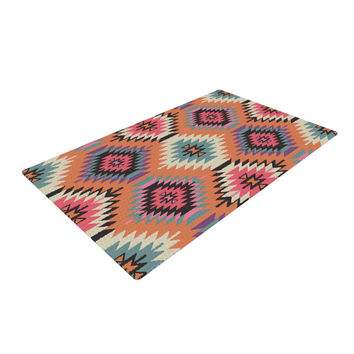 "Amanda Lane ""Navajo Dreams"" Orange Pink Woven Area Rug"