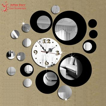 Double Color New 3D Home Decoration Wall Clock Stickers Decal DIY Vintage Mirror Wall Clock Modern Design Watch Wall Home Decor
