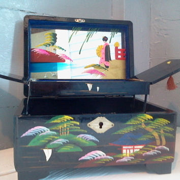 Jewelry Box, Vintage, Japanese, Black Lacquered, Hand Painted,  Wood