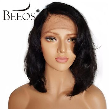 BEEOS Short Lace Front Human Hair Wigs With Baby Hair Non Remy 130% Density Brazilian Pre Plucked Lace Wigs Average Cap 22-22.5""