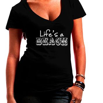 Lifes a Beach Juniors V-Neck Dark T-Shirt by TooLoud