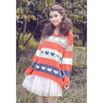 Red Heart Printed Cut-Out Sweater