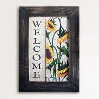 Welcome Sign, Vintage Sunflowers Illustration, 10x14 Framed Artwork, Brown, Tan, Wall art, Home Decor, Flowers, Natural Decor, Rustic