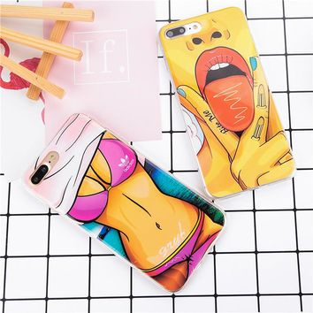 For iPhone 5 5S SE 6 6S 6Plus 6sPlus Phone case Funny Sexy Girl Pattern Beautiful lady draw back cover Ultra thin Soft TPU coque