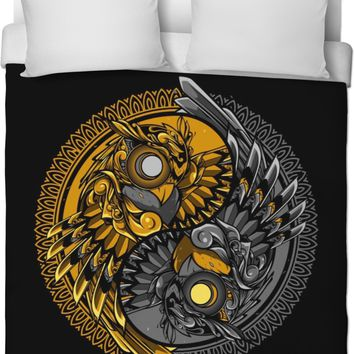 Steampunk Owls Yin And Yang Duvet Cover