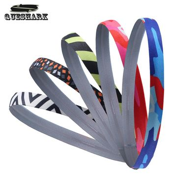 5 Pcs Men Women Camoflage Silicone Sweatband Anti-slip Yoga Headband Sports Hair Bands