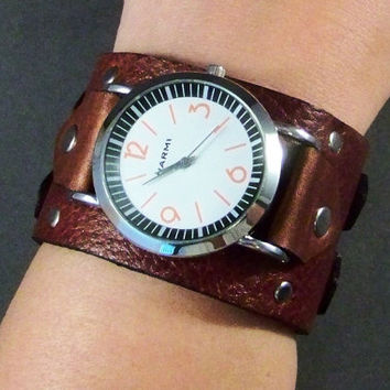 Brown Leather Watch Unisex Leather Watch Leather Cuff Watch Vintage Leather Watch