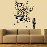 Wall Decal Vinyl Sticker Decals Art Decor  Microphone Mic Melody Notes Song Singer Juzz Bedroom Dorm Lounge Kids Sound Living room ( r846)