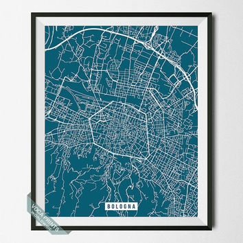 Bologna Print, Italy Street Map, Bologna Poster, Italy Map Print, Emilia Romagna, Modern Art, Street Map, Wall Decor, Back To School