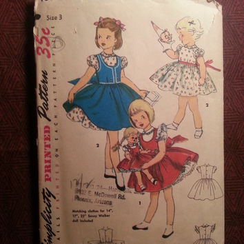 Complete 1950's Simplicity Sewing pattern, 4870! Size 3 Toddler Girls/Full Flared Dress/Short Puffy Sleeves/Jumper/Apron/Saucy Walker Doll