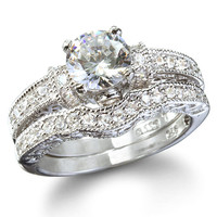 Sterling Silver 1.25 carat Round cut CZ Vintage Style Wedding Ring Set Size 4-11
