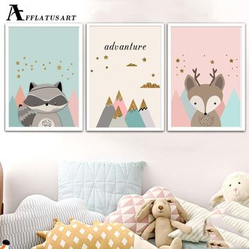Cartoon Deer Raccoon Mountain Wall Art Canvas Painting Nordic Posters And Print Canvas Art Animals Wall Pictures Kids Room Decor