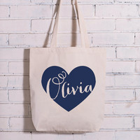 Personalized Name in Heart Tote