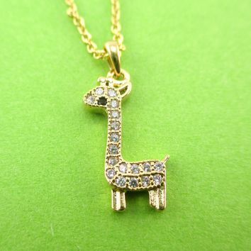 Tiny Rhinestone Baby Giraffe Shaped Pendant Necklace in Gold