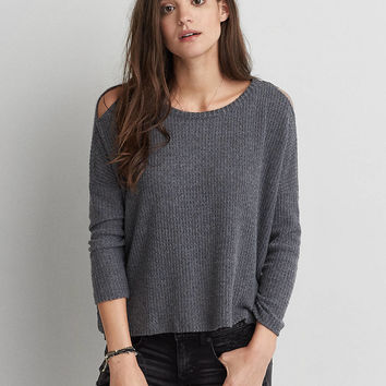 AEO Cutout Shoulder Waffle Top , Gray