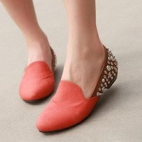 Wholesale European and American super stars sense rivets shallow mouth flats SY-C0514 brown - Lovely Fashion