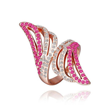 Rose Gold Plated Coral Jewels Floral Orchid Ring