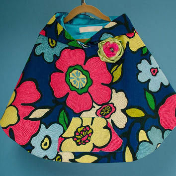 Girls Poncho, Toddler Poncho, Spring Flower Poncho for Girls