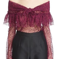 Isa Arfen Ruffle Knot Off the Shoulder Tulle Top   Nordstrom