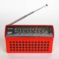 Vintage Mini Radio Transistor / Graetz Grazia Automatic 305 / Portable /  70s Germany / Red