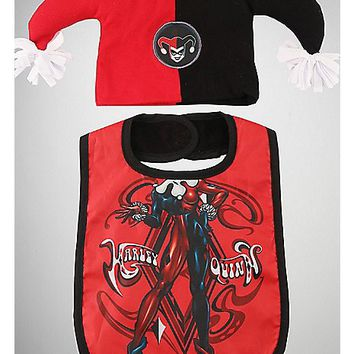 Harley Quinn Baby Hat & Bib Set - Spencer's