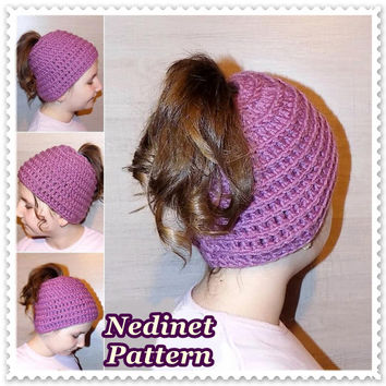 Crochet pattern, crochet slouchy hat pattern, crochet ponytail hat pattern, child,