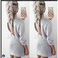 Women Autumn Winter Dress Long Sleeve Back Hollow Out Woman Sexy Party Dressed