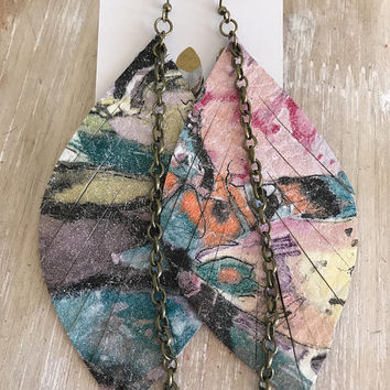 Watercolor Leather Earrings