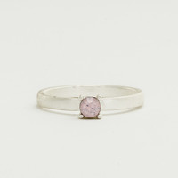 Worn Rhodium Single Crystal Ring - Opal Rose