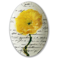 Floral with Script Decoupage Plate, Decorative Plates