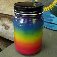 Rainbow Five Color Fruit Scented Unity Gay Pride Jar Candle 16 oz Hand Poured