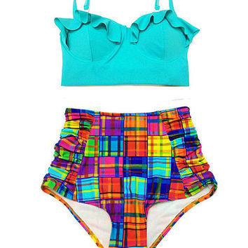 Mint Midkini Top and Bliss Colorful Plaid Ruched High Waisted Waist Rise Shorts Bottom Swimsuit Bikini Swimwear Swim suit suits wear S M L