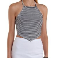 Black/White Striped High-Neck Halter Top by Charlotte Russe