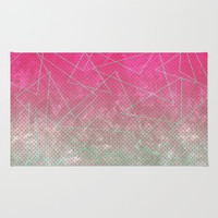 Pink Polka Dot and Mint Triangles Area & Throw Rug by Kat Mun | Society6