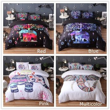 New Arrival Elephant Pattern Bedding Sets Digital Printing Duvet Covers Bed Sheets & Pillowcases( 4 Colors Options, Size Twin Fu