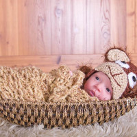 Crochet Monkey Hat with Earflaps Choose Size Fuzzy Hat Perfect Newborn Photo Prop Halloween Jungle or Animal Nursery Theme