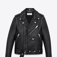 Saint Laurent Studded Motorcycle Jacket In Black Leather | ysl.com