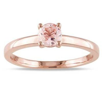 5.0mm Morganite Solitaire Promise Ring in 10K Rose Gold - Save on Select Styles - Zales
