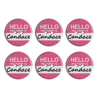 Candace Hello My Name Is Plastic Resin Button Set of 6