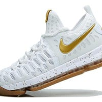 VAWA Nike Men's Durant Zoom KD 9 Knit Mid-High Basketball Shoes White Golden